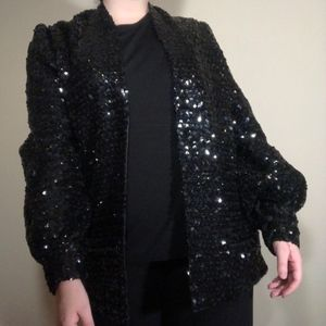 Vintage Black Sequin Balloon Cuff Jacket